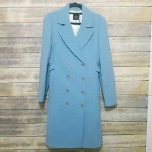 J Crew Blue Wool Double Breasted Long Coat 12